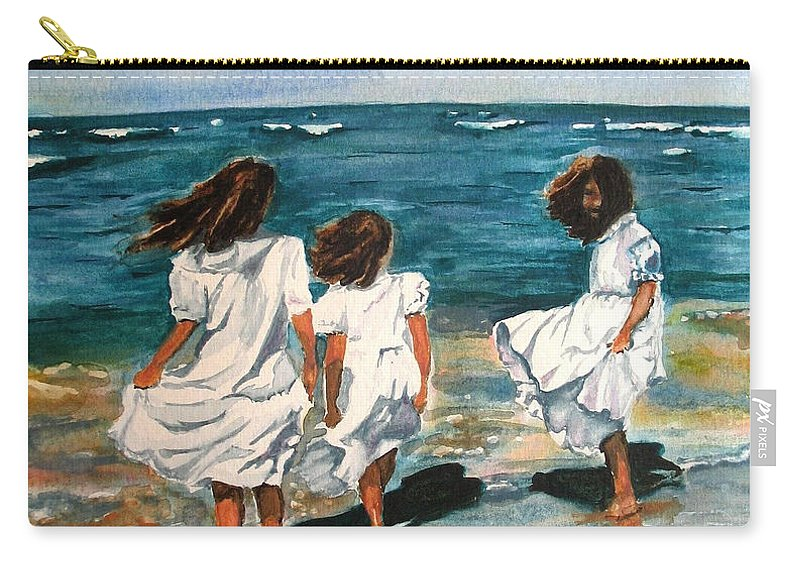 Girls Carry-all Pouch featuring the painting Windy Day by Karen Ilari