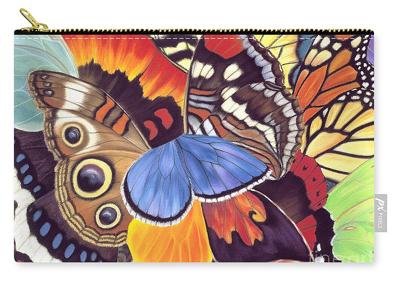 Butterflies Carry-all Pouch featuring the painting Wings Of California by Lucy Arnold