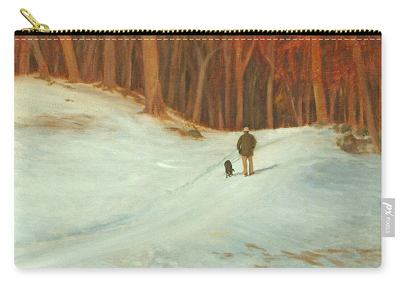 Landscape Carry-all Pouch featuring the painting Winter Walk with Dog by Phyllis Tarlow
