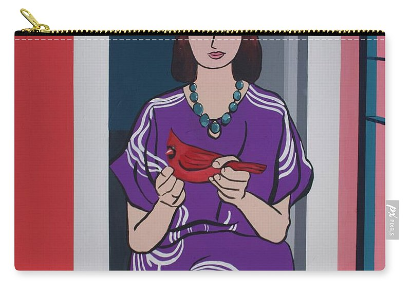 Bird Carry-all Pouch featuring the painting Woman, Bird, and Berries - A Tribute to Henri Matisse by Rollin Kocsis