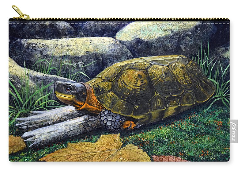 Turtles Carry-all Pouch featuring the painting Wood Turtle by Frank Wilson
