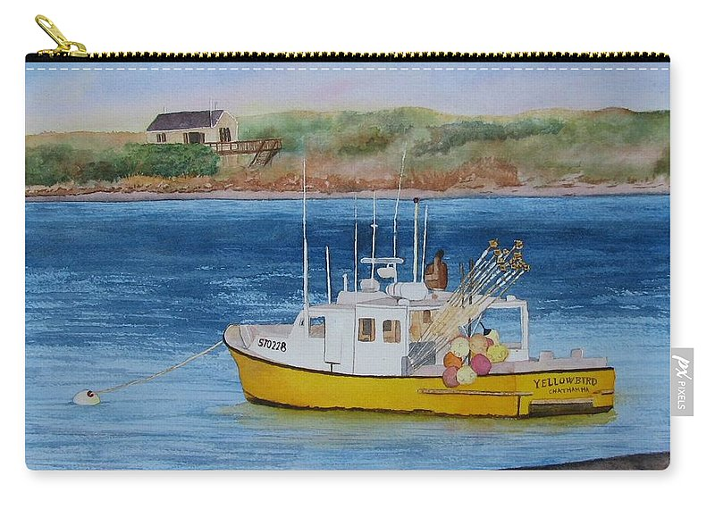 Landscape Carry-all Pouch featuring the painting Yellow Bird by Sharon Farber