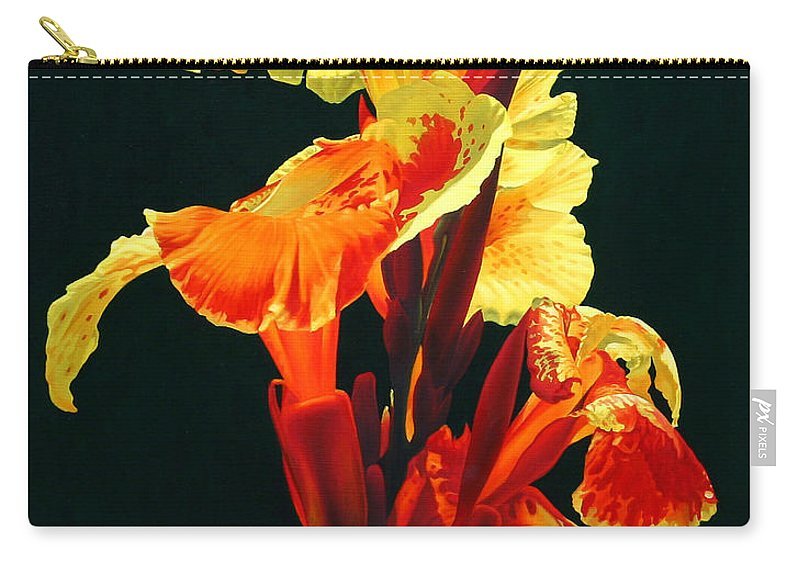 Flowers Carry-all Pouch featuring the painting Yellow Cannas by Gary Hernandez