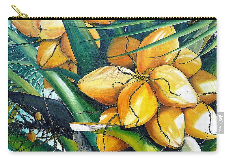 Coconut Painting Botanical Painting  Tropical Painting Caribbean Painting Original Painting Of Yellow Coconuts On The Palm Tree Carry-all Pouch featuring the painting Yellow Coconuts by Karin Dawn Kelshall- Best