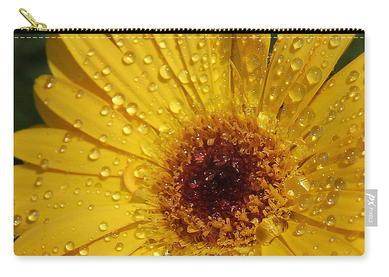 Yellow Carry-all Pouch featuring the photograph Yellow Gerbera by Suzanne Gaff