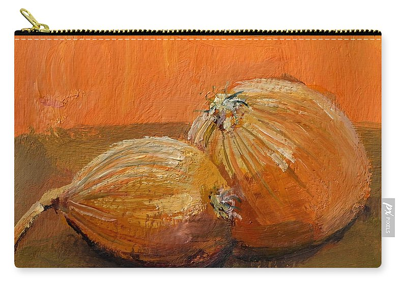 Agriculture Carry-all Pouch featuring the painting Yellow Onions Still Life by Michelle Calkins