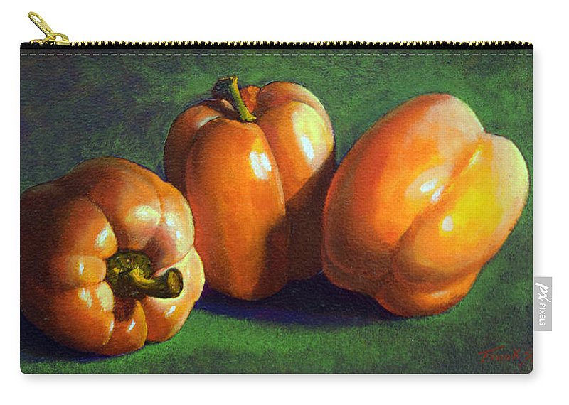 Yellow Peppers Carry-all Pouch featuring the painting Yellow Peppers by Frank Wilson