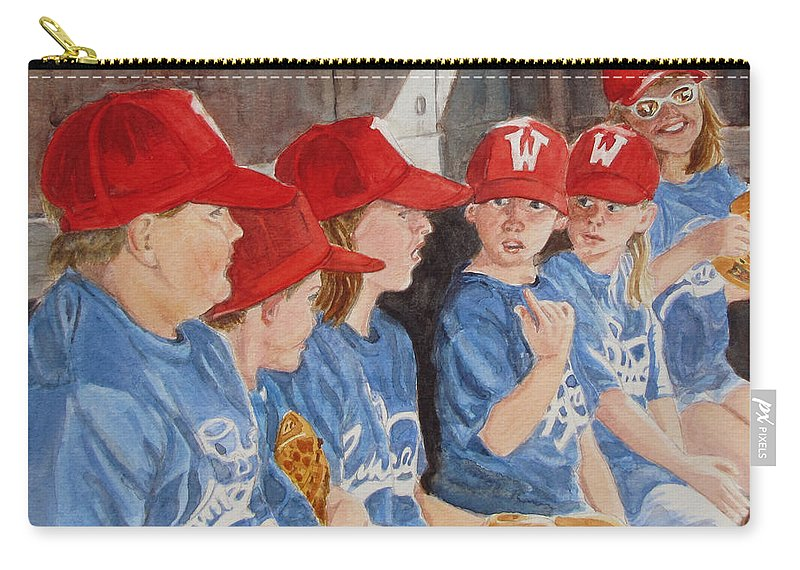 Kids Carry-all Pouch featuring the painting Yer Up by Karen Ilari