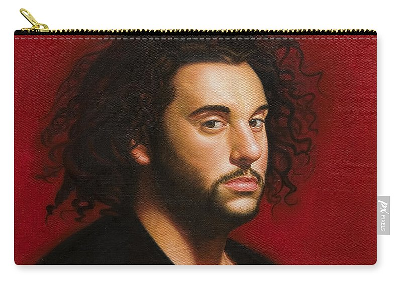 Portrait Of A Young Man Carry-all Pouch featuring the painting Young Man in Black by Gary Hernandez