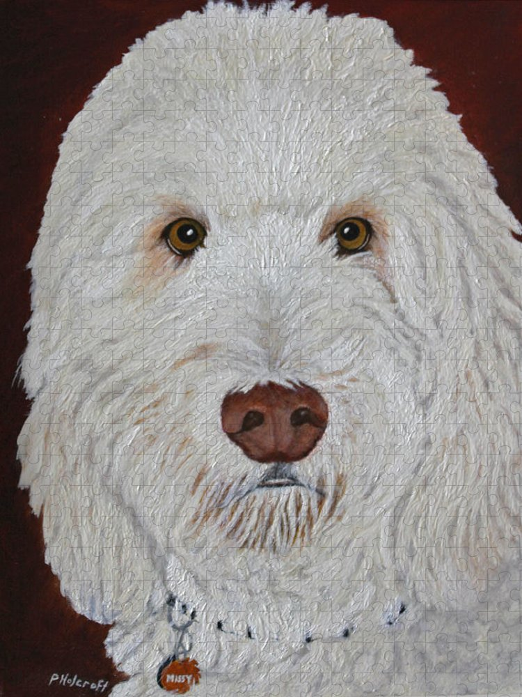 Dogs Puzzle featuring the photograph Golden Doodle by Peggy Holcroft