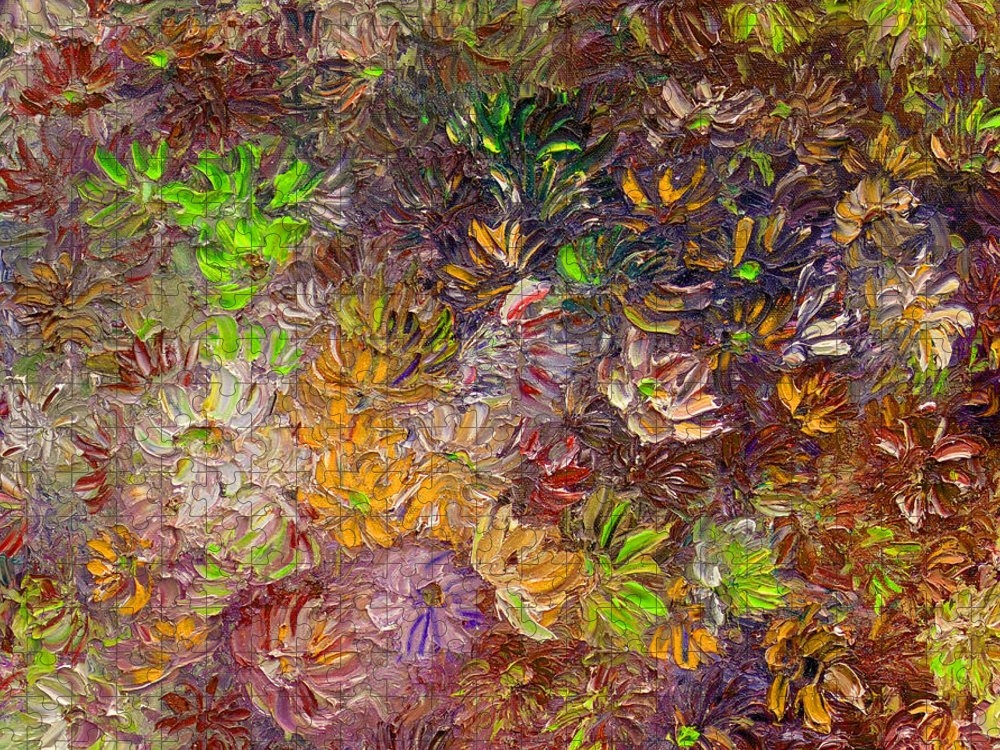 Green Abstract Puzzle featuring the painting My Pretty Green Pallet by Karin Dawn Kelshall- Best