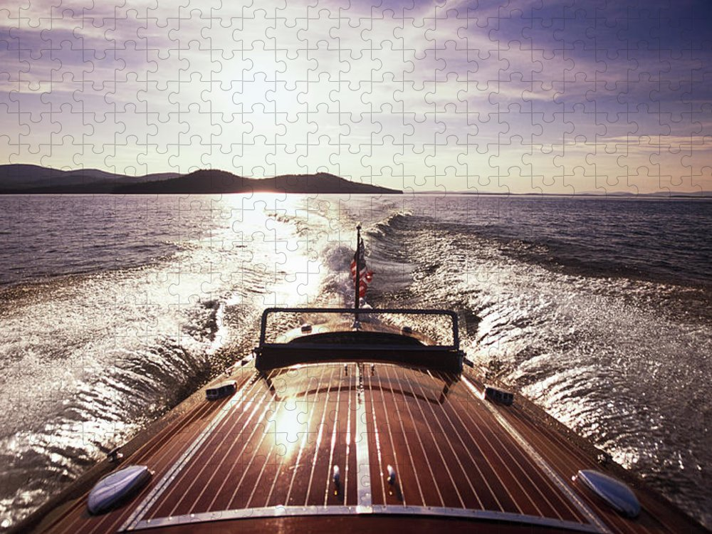 Scenics Puzzle featuring the photograph A Classic Wooden Chris-craft Two Co-pit by Dave Shafer