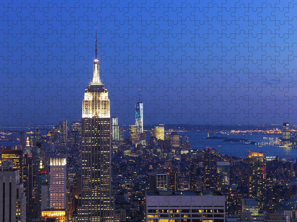 Tranquility Puzzle featuring the photograph Aerial View Of Empire State And Midtown by Future Light