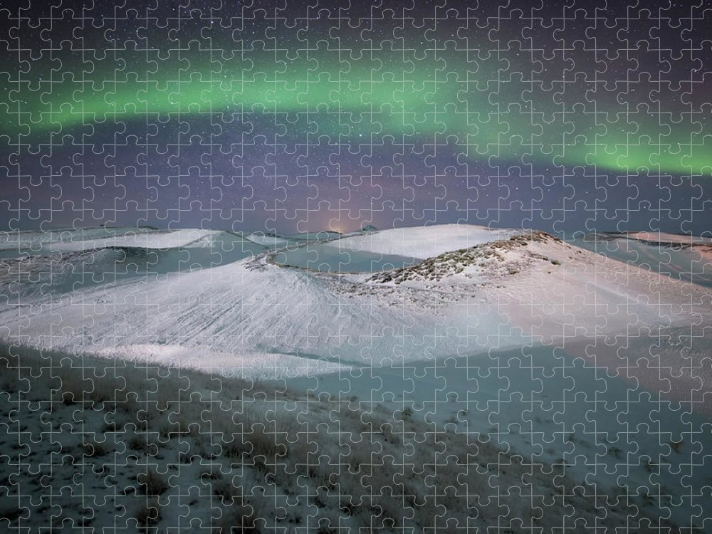 Scenics Puzzle featuring the photograph Aurora, Myvatn, Iceland by David Clapp