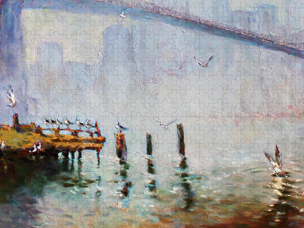 Brooklyn Bridge Puzzle featuring the painting Brooklyn Bridge in a Foggy Morning  by Ylli Haruni