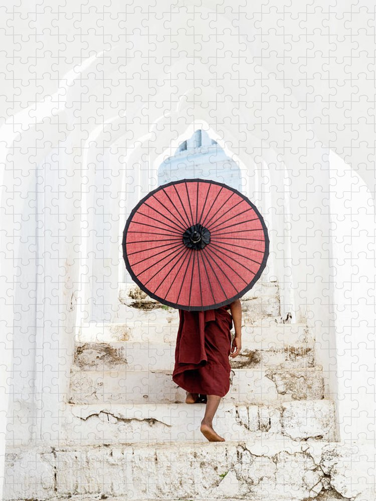 Steps Puzzle featuring the photograph Buddhist Monk Walking Along Temple by Martin Puddy