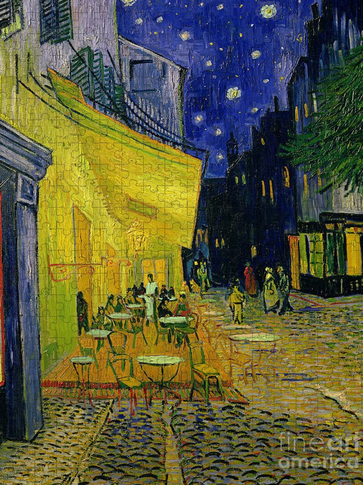 Cafe Terrace Puzzle featuring the painting Cafe Terrace Arles by Vincent van Gogh