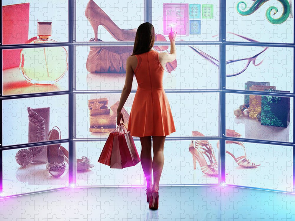Internet Puzzle featuring the photograph Caucasian Woman Shopping Online by Colin Anderson Productions Pty Ltd
