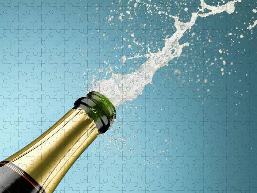 Celebration Puzzle featuring the photograph Champagne Exploding From Bottle by Andy Roberts