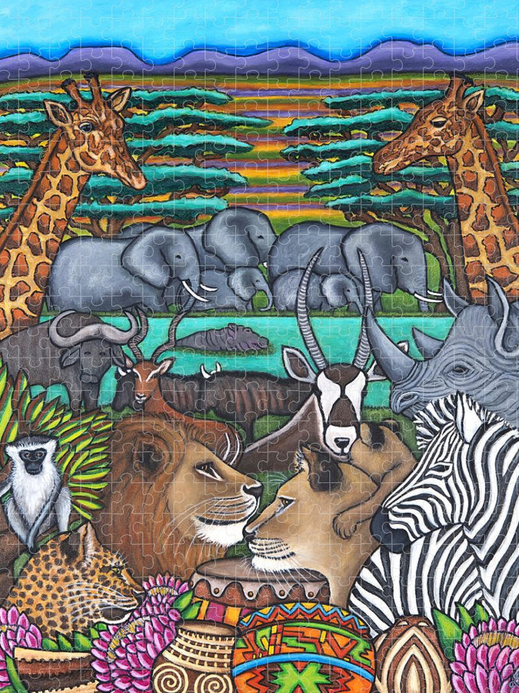 Africa Puzzle featuring the painting Colours of Africa by Lisa Lorenz