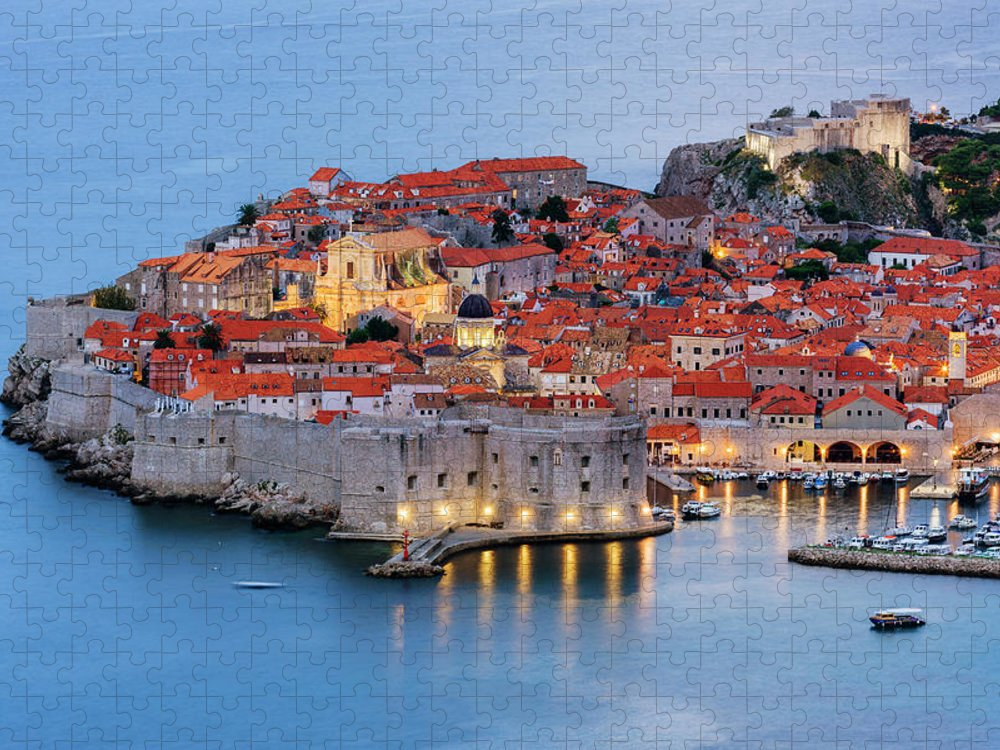 Scenics Puzzle featuring the photograph Dubrovnik City Skyline At Dawn by Pixelchrome Inc