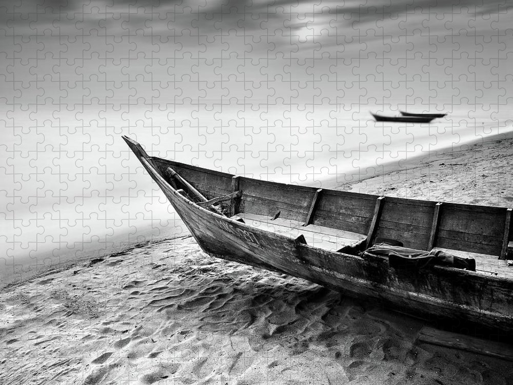 Tranquility Puzzle featuring the photograph Fisherman Boat At Beach In Black And by Photography By Azrudin
