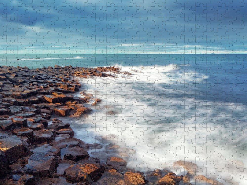 Water's Edge Puzzle featuring the photograph Giants Causeway On A Cloudy Day by Mammuth