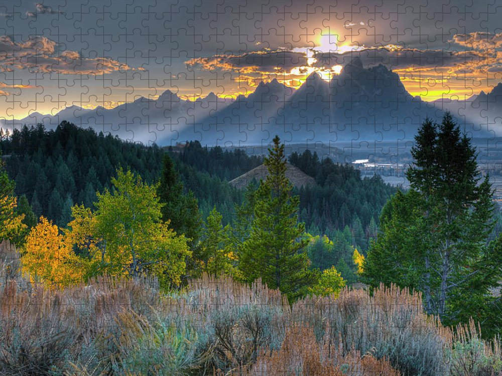 Scenics Puzzle featuring the photograph Grand Teton Mountains by Donald A Higgs