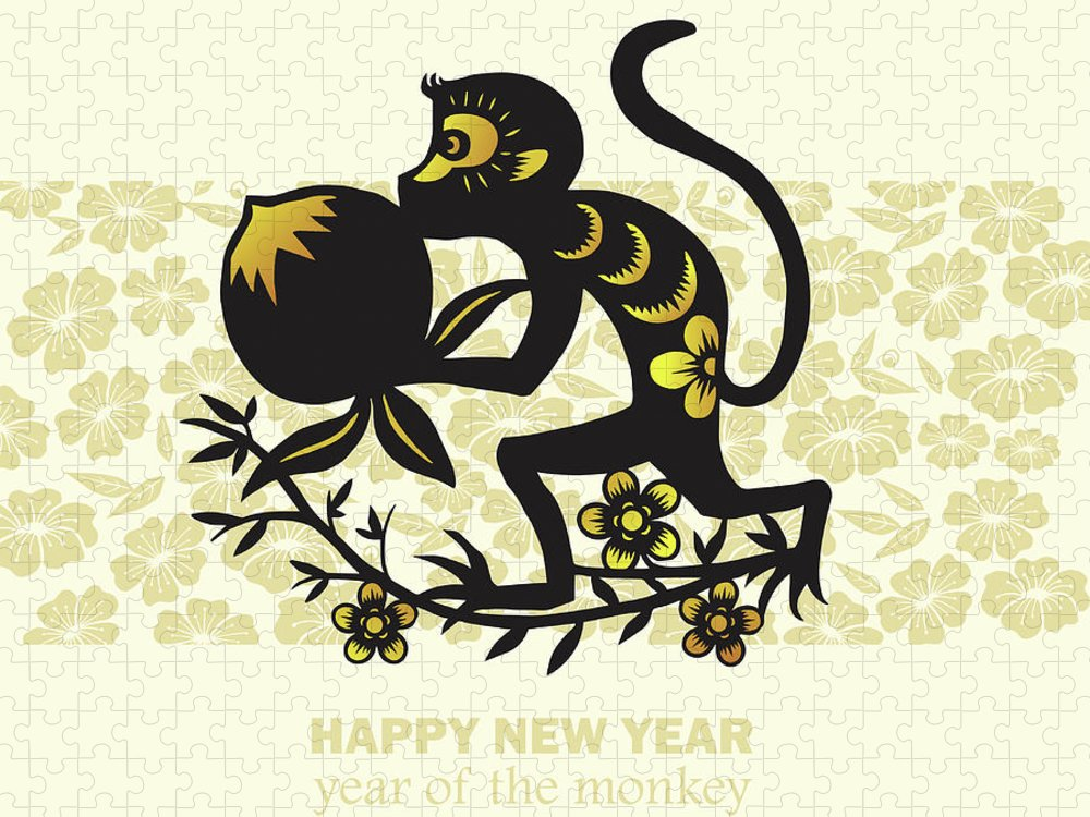 Chinese Culture Puzzle featuring the digital art Happy New Year, Year Of The Monkey 2016 by Ly86