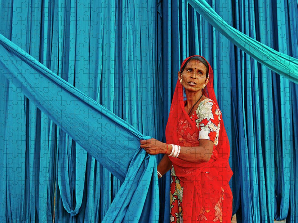 People Puzzle featuring the photograph India, Rajasthan, Sari Factory by Tuul & Bruno Morandi