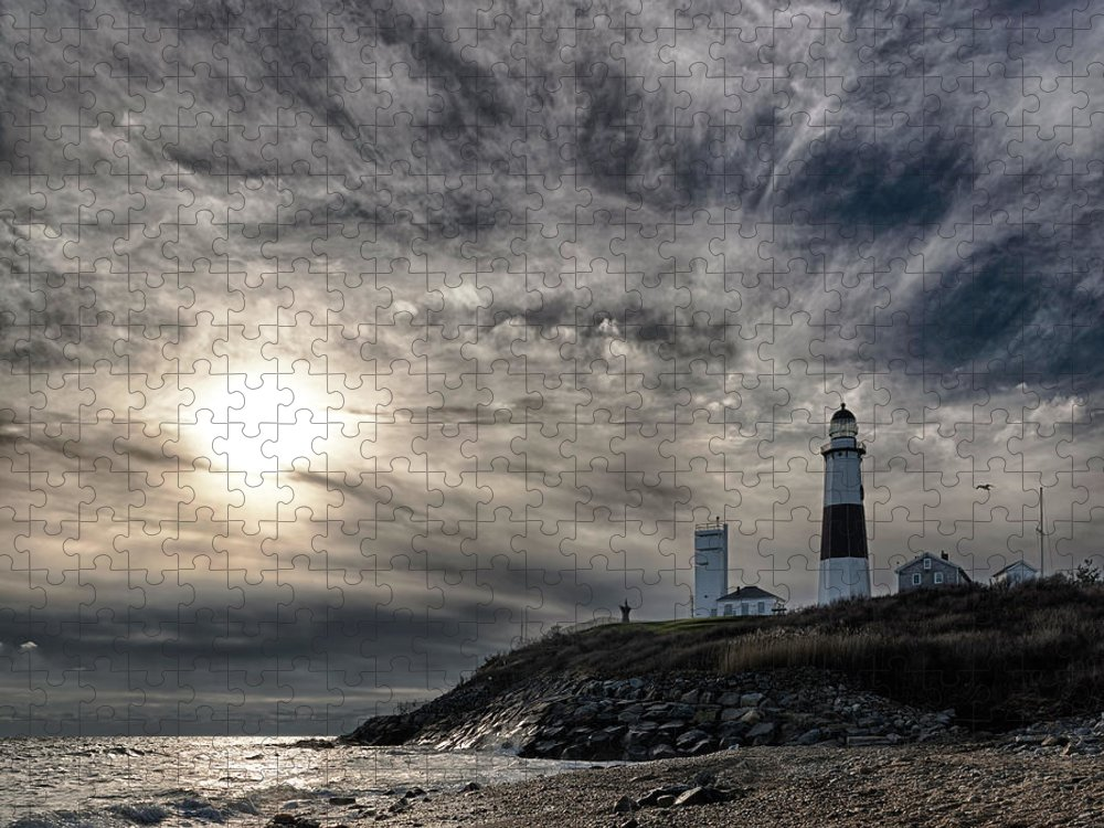 Dawn Puzzle featuring the photograph Lighthouse At Montauk Point, Long by Alex Potemkin