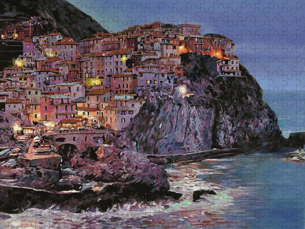 Manarola Puzzle featuring the painting Manarola al crepuscolo by Guido Borelli