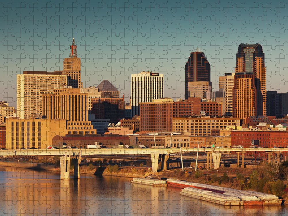 Dawn Puzzle featuring the photograph Minneapolis, St. Paul, Minnesota, City by Walter Bibikow