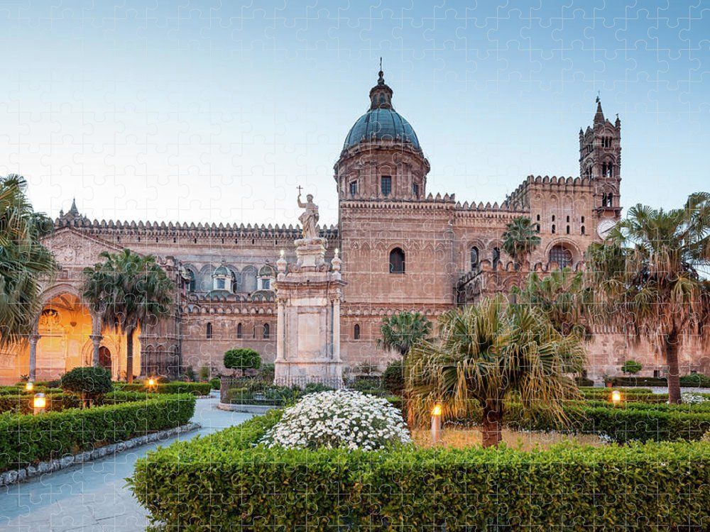 Saturated Color Puzzle featuring the photograph Palermo Cathedral At Dusk, Sicily Italy by Romaoslo