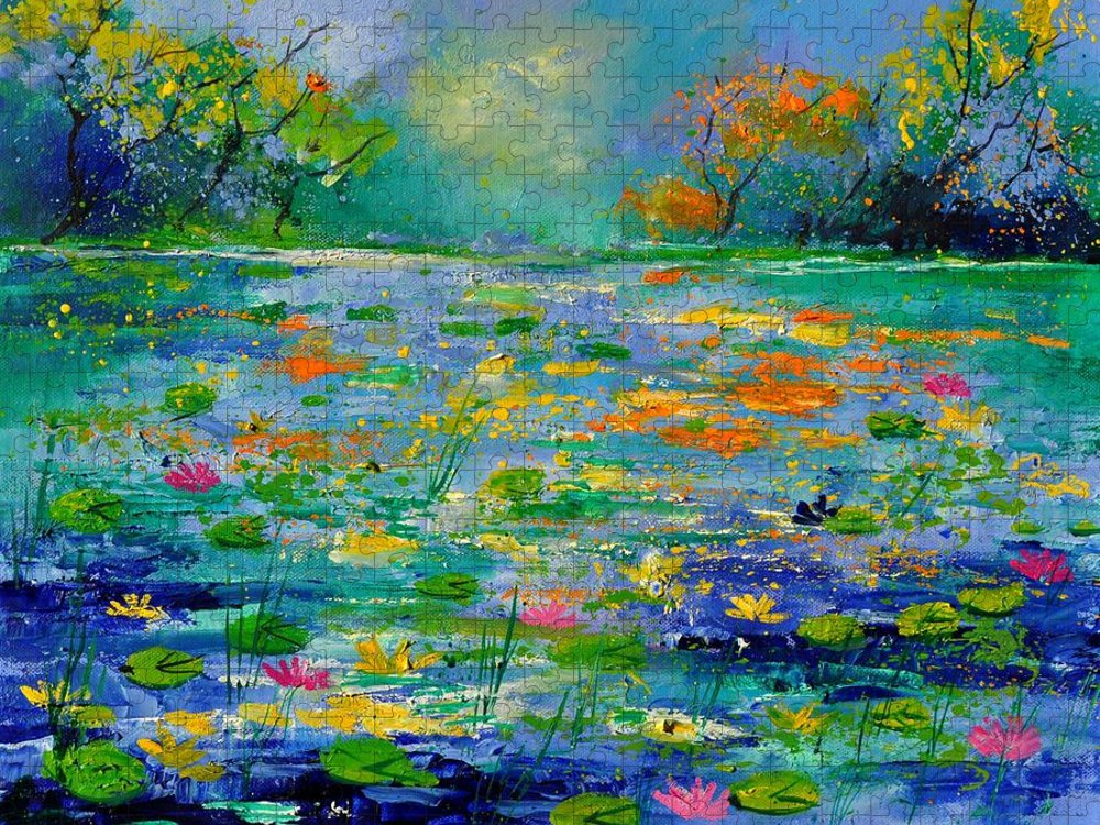 Landscape Puzzle featuring the painting Pond 454190 by Pol Ledent