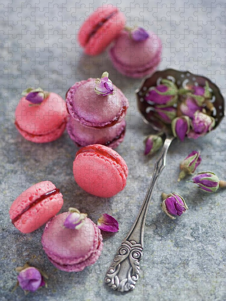 Stuffed Puzzle featuring the photograph Rose Macarons by Verdina Anna