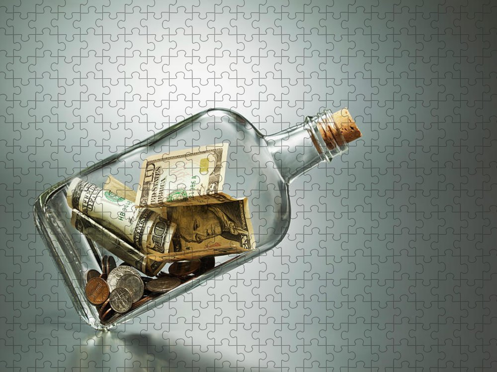 Coin Puzzle featuring the photograph Us Dollar Banknotes In A Bottle by Yuji Sakai