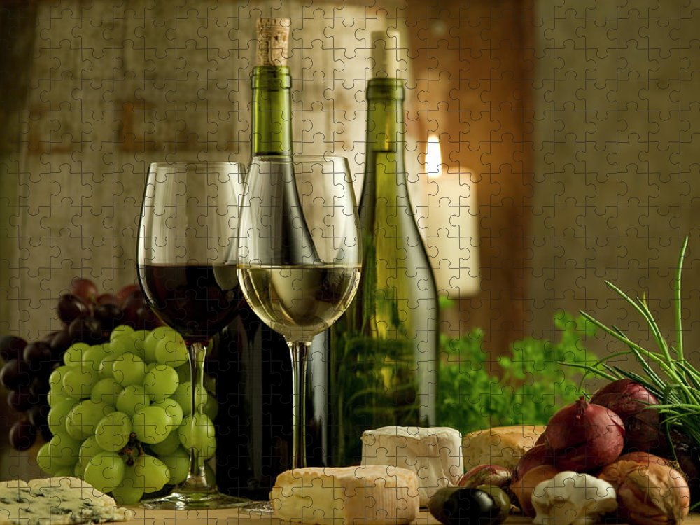 Cheese Puzzle featuring the photograph White And Red Wine In A French Style by Kontrast-fotodesign