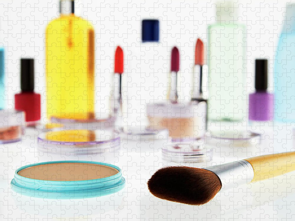 White Background Puzzle featuring the photograph Still Life Of Beauty Products by Stephen Smith