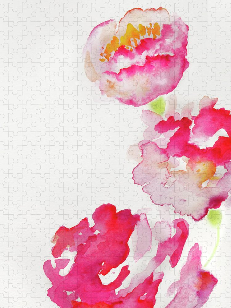 Art Puzzle featuring the photograph Abstract Watercolour Flowers by Kathy Collins
