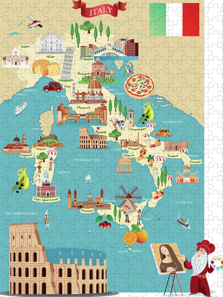 Adriatic Sea Puzzle featuring the digital art Cartoon Map Of Italy by Drmakkoy