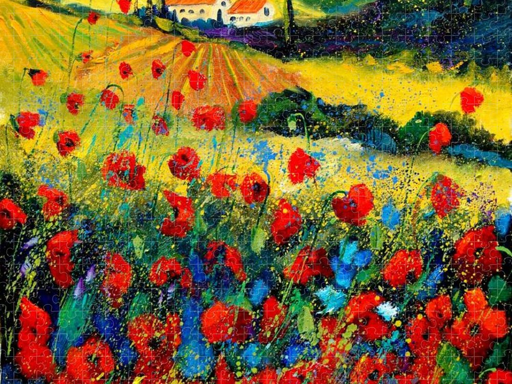 Flowersn Landscape Puzzle featuring the painting Poppies in Tuscany by Pol Ledent