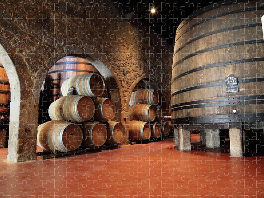 Fermenting Puzzle featuring the photograph Porto Wine Cellar by Vuk8691