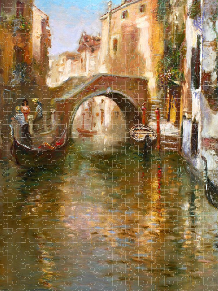 Romance Puzzle featuring the painting Romance in Venice by Ylli Haruni
