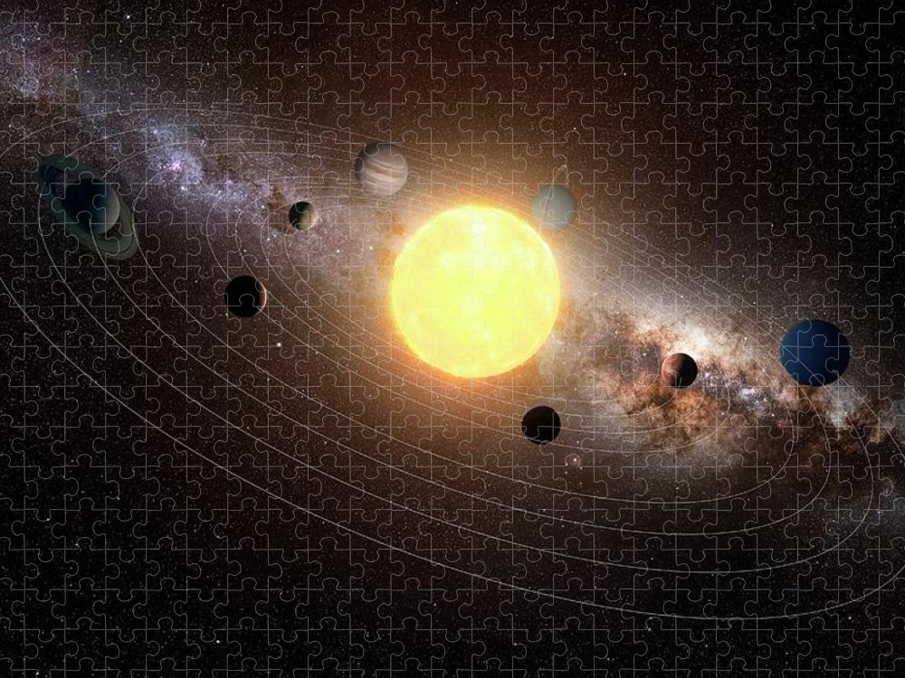 Black Background Puzzle featuring the digital art Solar System, Artwork by Sciepro