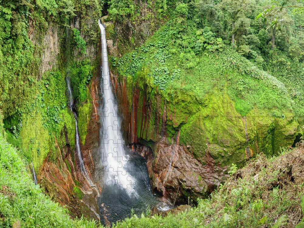 Tropical Rainforest Puzzle featuring the photograph Tropical Waterfall In Volcanic Crater by Ogphoto