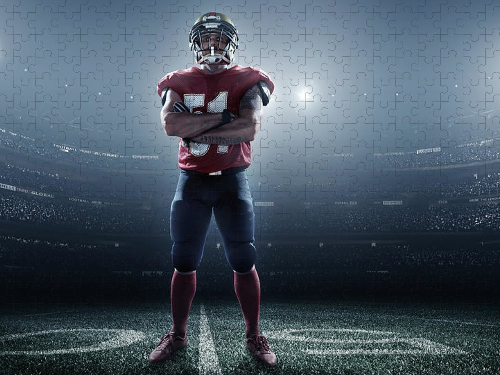 Soccer Uniform Puzzle featuring the photograph American Football In Action by Dmytro Aksonov