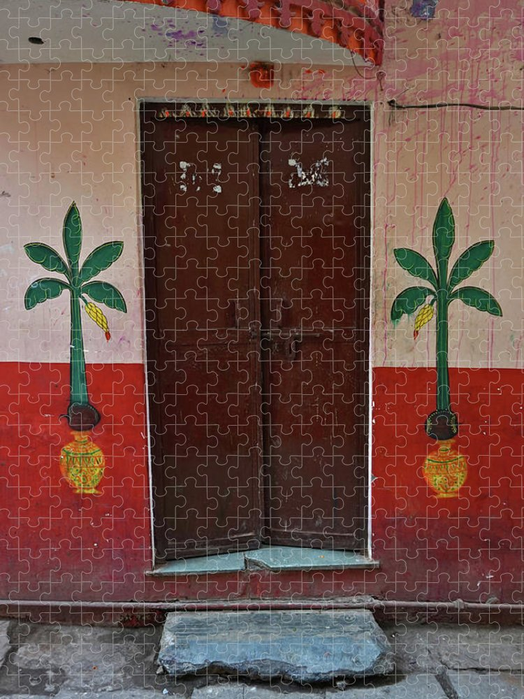 Description Puzzle featuring the photograph Old Doors India, Varanasi by Stereostok