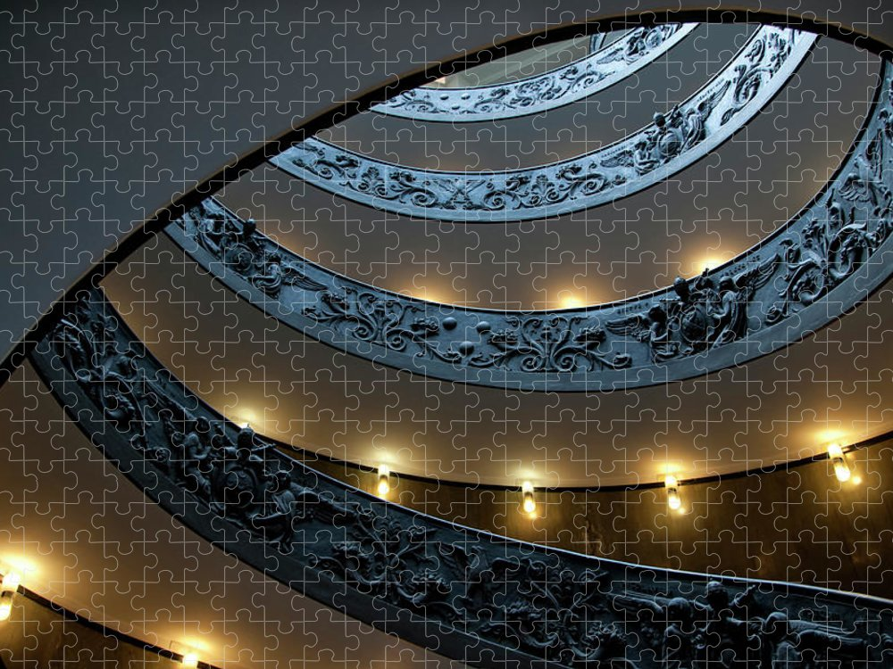 Italian Culture Puzzle featuring the photograph Spiral Staircase At The Vatican by Mitch Diamond