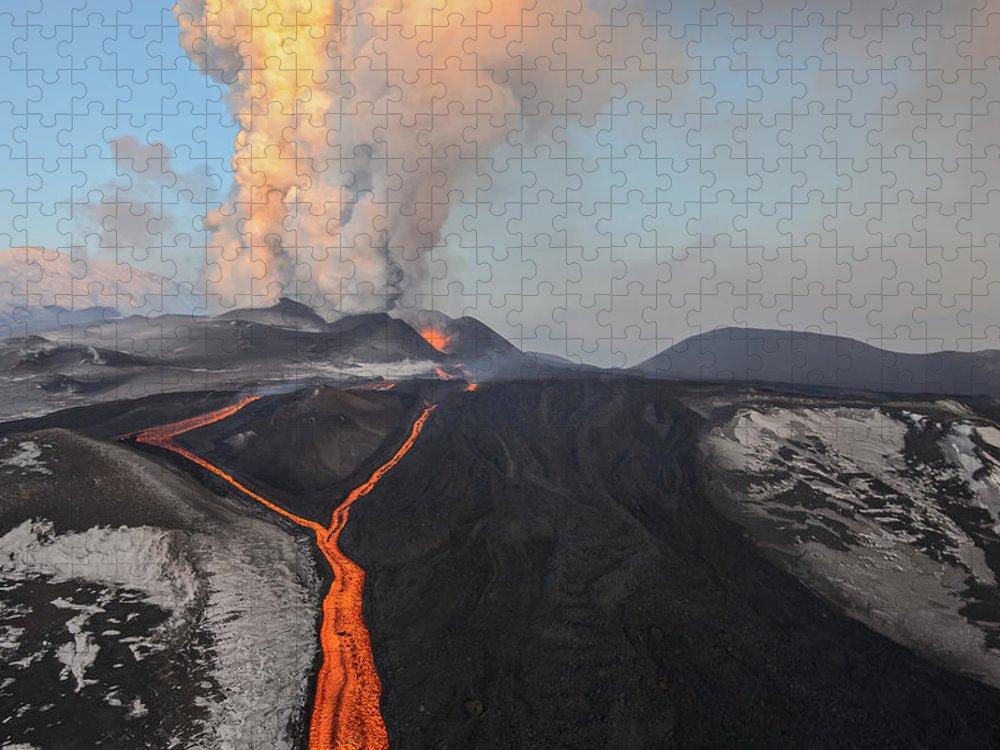 Feb0514 Puzzle featuring the photograph Tolbachik Volcano Erupting Kamchatka by Sergey Gorshkov